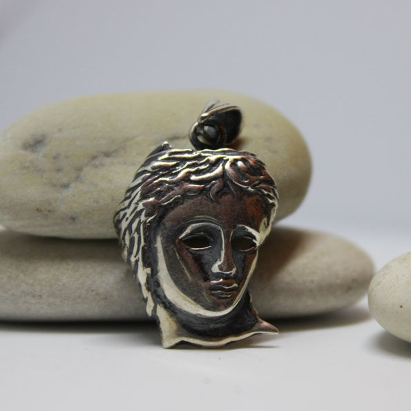 Handmade Silver Sterling Pendant Mask Anahid
